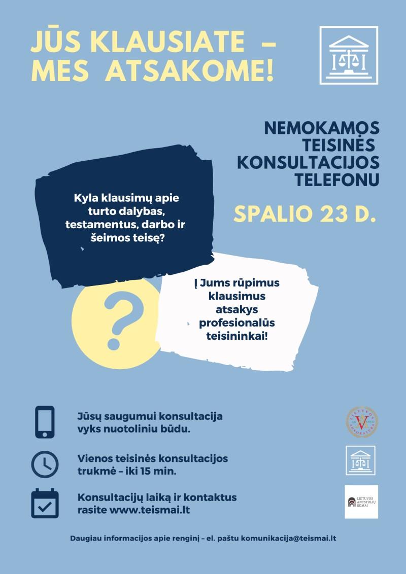 """Nemokamos teisinės konsultacijos telefonu """"Lietuvos teismai: Jūs klausiate – mes atsakome!"""""""